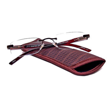 Foster Grant Rick Reading Glasses with Case - Brown - 2.50