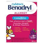 Benadryl Children's Allergy Chewable - Grape - 20's