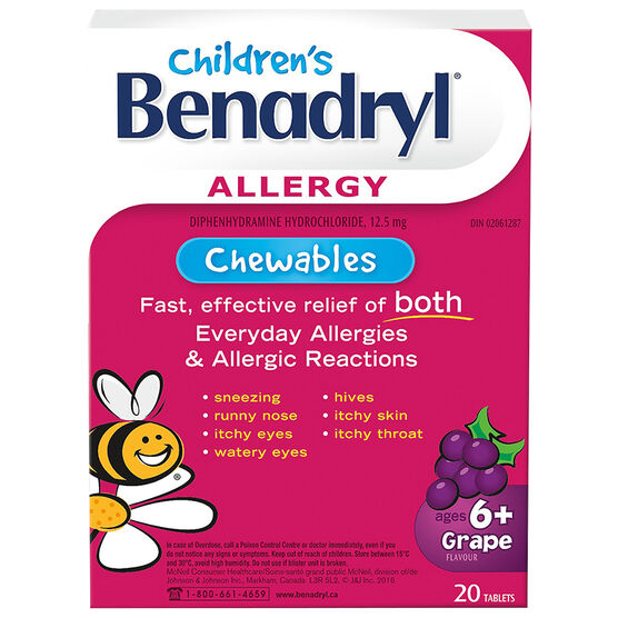 Benadryl Children's Allergy Chewable - Grape - 20's
