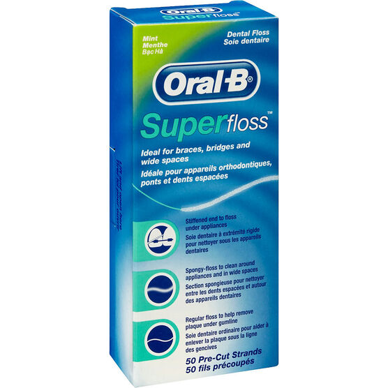 Oral B SuperFloss Dental Floss - Mint - 50's
