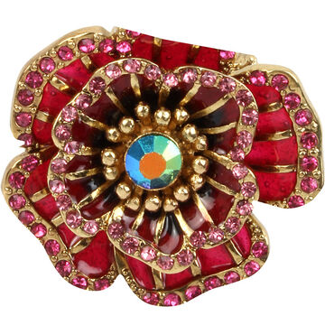 Betsey Johnson Flower Ring - Pink/Gold