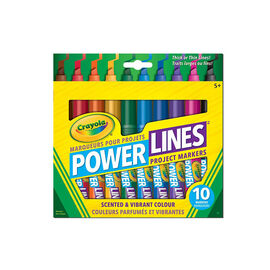 Crayola Power Lines Washable Scented Project Markers - 10 pack