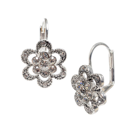 Betsey Johnson Flower Earrings - Crystal