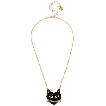 Betsey Johnson Dark Pave Cat Pendant Necklace - Black/Hematite