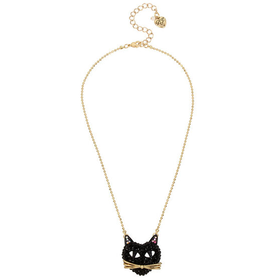 Betsey Johnson Dark Pave Cat Pendant Necklace - Black/Hematite