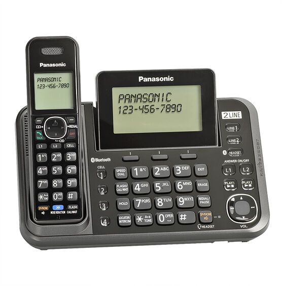 Panasonic 2-Line Bluetooth (Link-To-Cell) Cordless Phone - Black - KX-TG9541