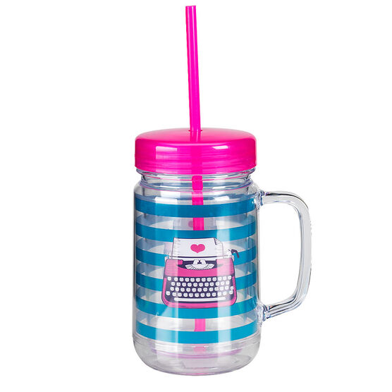 London Drugs Mason Jar Drinking Mug - Typewriter - 24oz