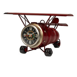 London Drugs Metal Airplane Desk Clock - Red