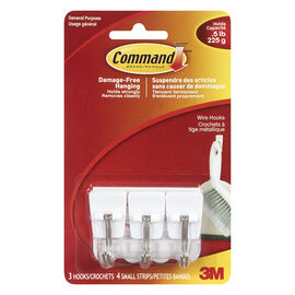 Command Small Wire Hooks - White - 3's
