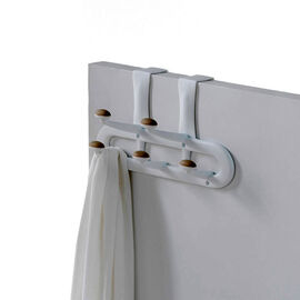 Non-Slip Over The Door 5 Peg Hook - White/Tan