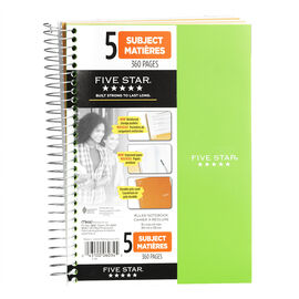 Mead Five Star Five Subject Notebook - 9.5 x 6 inch - 360 pages - Assorted Colours
