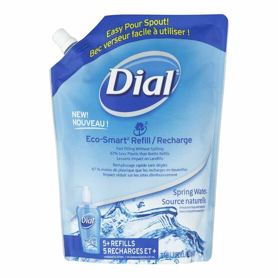Dial Antibacterial Liquid Hand Soap Eco-Smart Refill - Spring Water - 1.18L