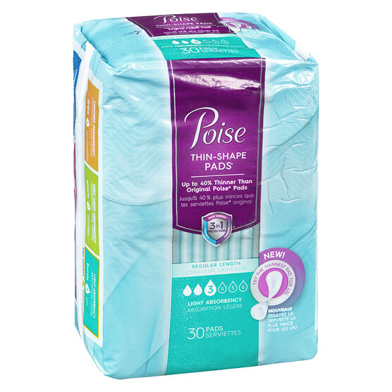 Poise Thin Shape Pads - Light Absorbency - 30's