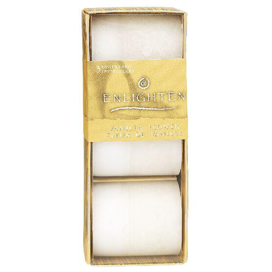 Enlighten Mini Pillar Candles - Vanilla Flower - 3 pack