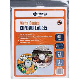 Impresso Inkjet Matte CD/DVD Labels - 40 labels