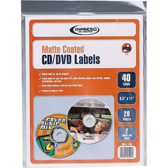 Impresso Inkjet Matte CD/DVD Labels - 40 labels