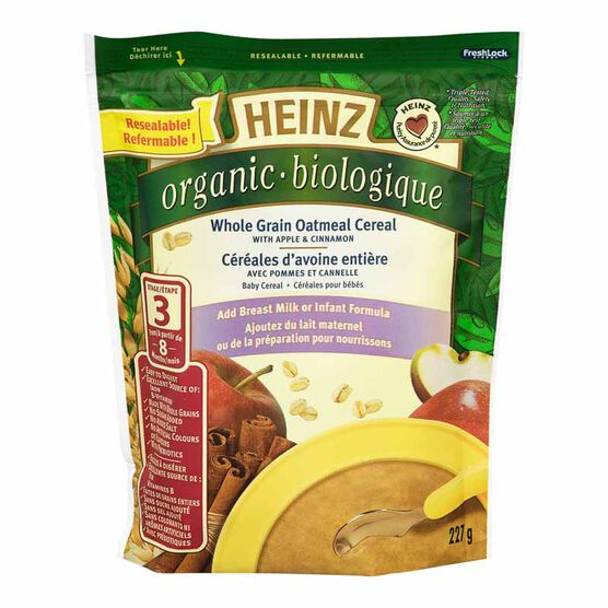 Heinz Organic Whole Grain Oatmeal Cereal with Apple & Cinnamon - 227g