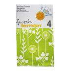 Fresh Lemon Tea Towel - Green - 4 pack