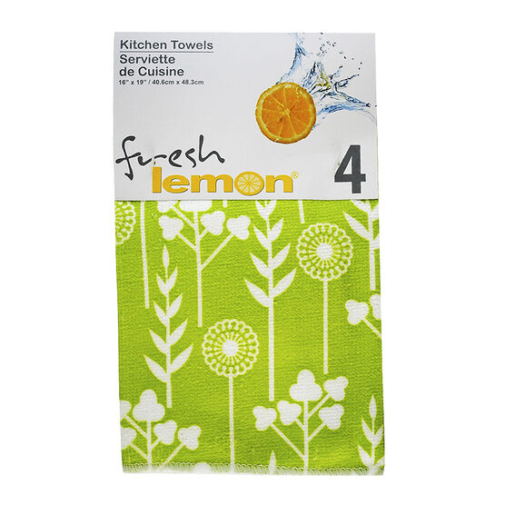 Fresh Lemon Tea Towel - Green - 4 pack
