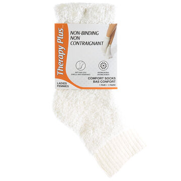 Therapy Plus Non-Binding Comfort Anklet Ladies Socks - White - 1 pair