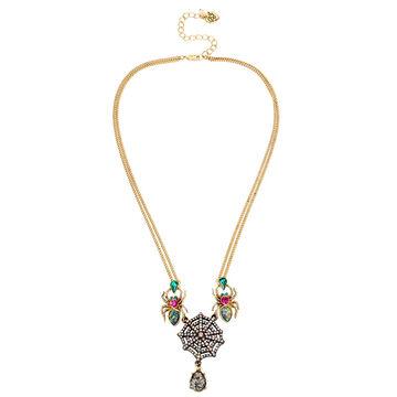 Betsey Johnson Dark Multi Spider Necklace - Multi/Gold