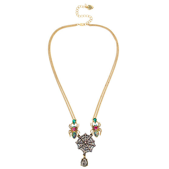 Betsey Johnson Dark Multi Spider Necklace - Multi/Gold