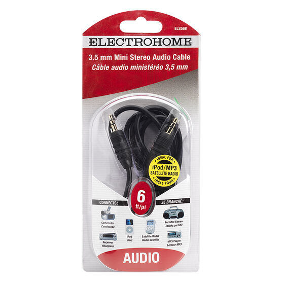 Electrohome 6-ft Shielded Audio Cable Mini Plug - ELS568