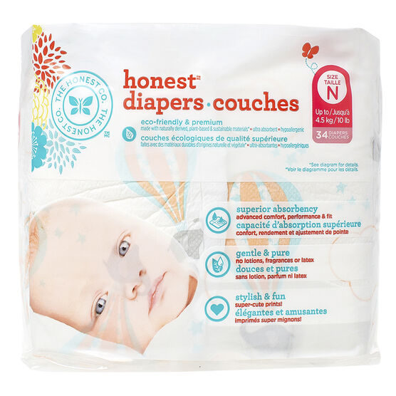 Honest Diapers - Size N - 34's