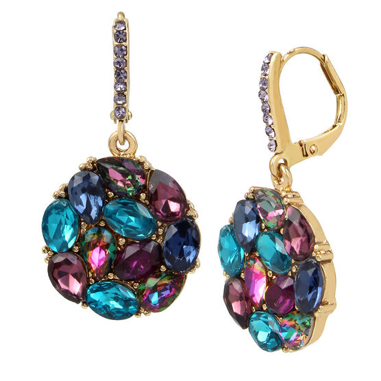 Betsey Johnson Blue Cluster Drop Earring - Blue/Gold