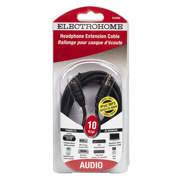 Electrohome Headphone Extension Cord - 10ft - ELS583