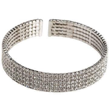 Brillare 5 Row Pave Bracelet - Silvertone