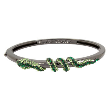 Betsey Johnson Green Snake Bangle - Green/Hematite