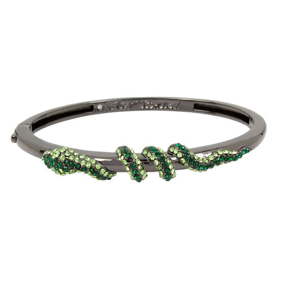 Betsey Johnson Green Snake Bangle - Green/Hematite
