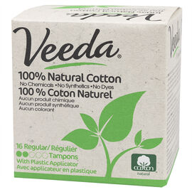 Veeda 100% Natural Cotton Tampons - Regular - 16's