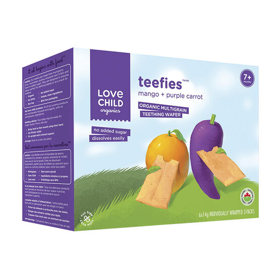 Love Child Teefies Organic Multigrain Teething Wafers - Mango + Purple Carrot - 84g