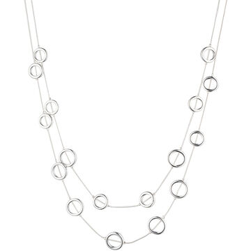 Nine West 16-inch 2 Row Necklace - Silver Tone