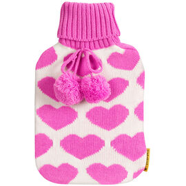 Star&Rose Hot Water Bottle Cover - Pink Hearts
