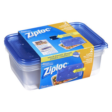 Ziploc Rectangle Containers - Large - 2's