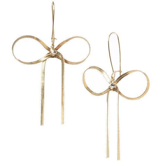 Betsey Johnson Large Bow Drop Earrings - Crystal