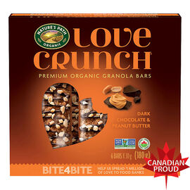 Nature's Path Organic - Love Crunch Premium Organic Granola Bars - Dark Chocolate and Peanut Butter - 6 Bars x 30g