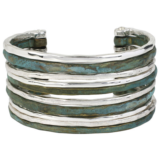 Robert Lee Morris Silver Plated Wide Cuff Bracelet - Patina