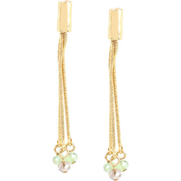 Haskell Chain Bead Drop Earrings - Green/Gold