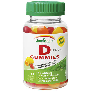 Jamieson Vitamin D Gummies 1,000 IU - Orange, Strawberry, Lemon - 60's