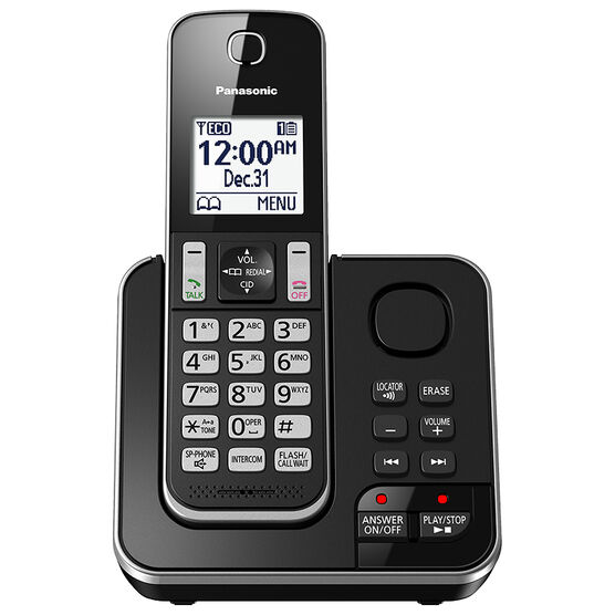Panasonic 1 Handset Cordless Phone with Answering Machine - Black - KXTGD390B