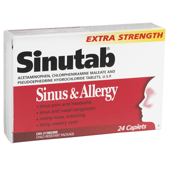 Sinutab Sinus and Allergy Extra Strength Caplets - 24