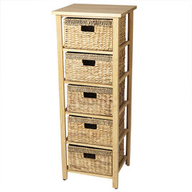 London Drugs Rubberwood Water Hyacinth Drawer - Natural - 5 Drawer