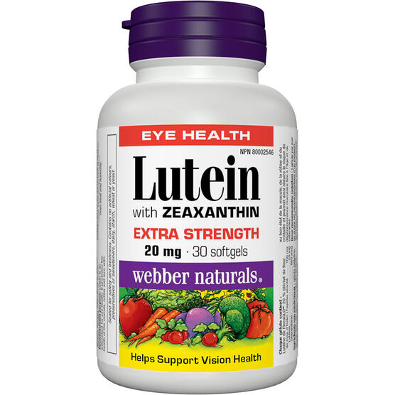 Webber Lutein with Zeaxanthin Extra Strength - 20mg - 30's