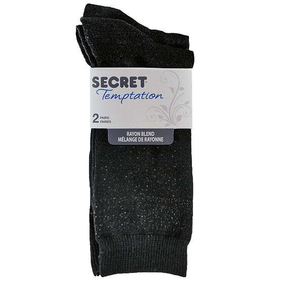 Secret Temptation Crew Socks - Heel/Toe - Black - 2 Pairs