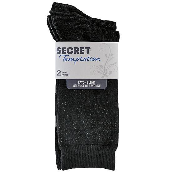 Secret Temptation Crew Socks - Heel/Toe - Black - 2 Pairs