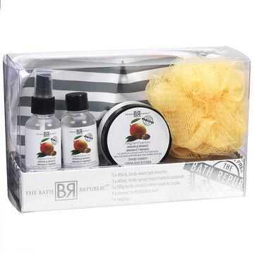 The Bath Republic Cosmetic Bag Set - Argan & Mango - 5 piece